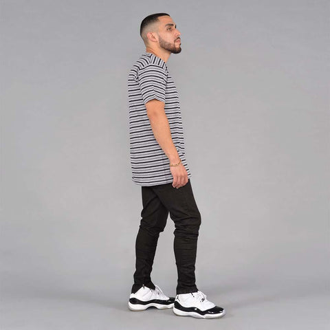 Image of S&D LA Vintage Striped Tee (Athletic Heather Grey)