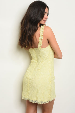 Womens Yellow Lace Dress