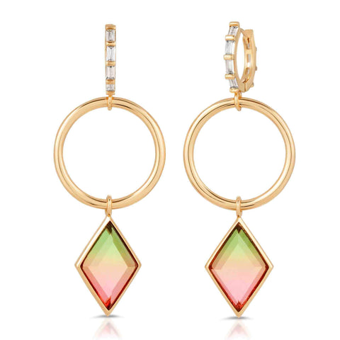 Image of Trinity Gold Watermelon Quartz Earrings