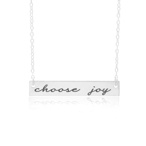 Choose Joy Bar Necklace, A Personalized Hand Stamped Necklace