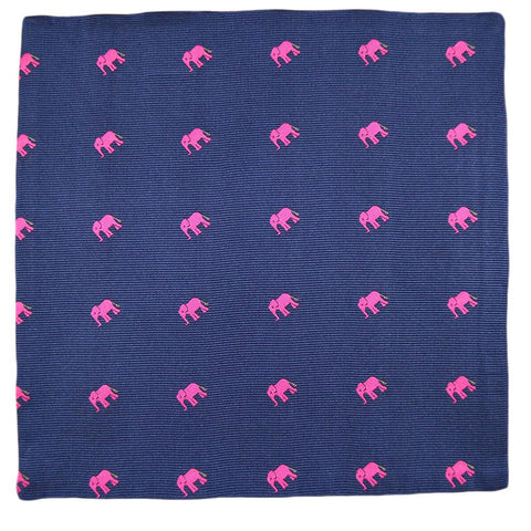 Elephant Pocket Square - Pink on Navy
