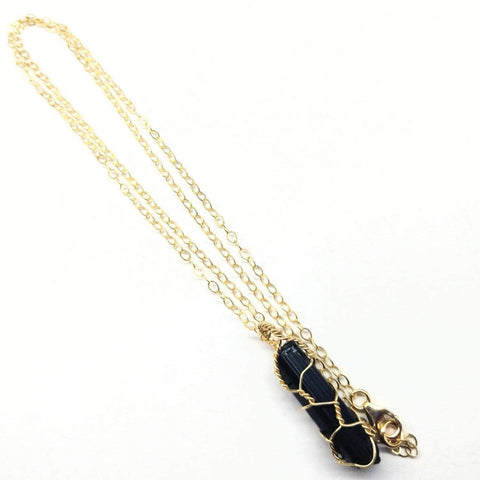 Messy Gold Wire Wrapped Black Tourmaline Pointed Crystal Pendant