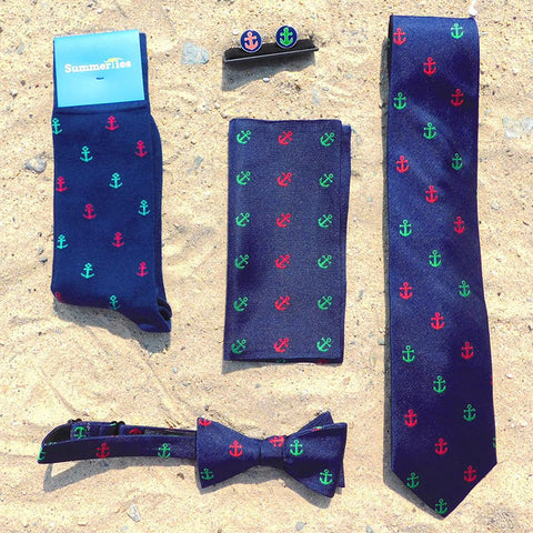 Image of Anchor Necktie - Port & Starboard, Woven Silk