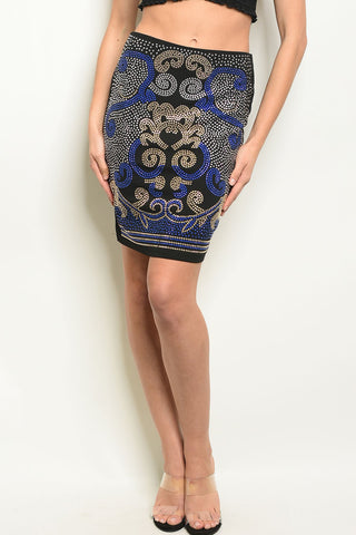Womens Black Royal With Studs Skirt