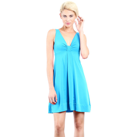 Image of Evanese Women's Short V-neck Dress with Gathering in Center