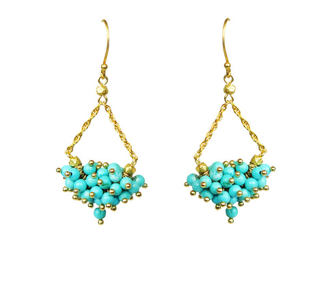 Turquoise Cluster Chandelier Earrings