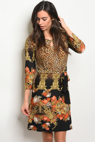 Womens-Cheetah Print Dress