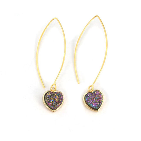 Image of Gold Heart Druzy Earrings