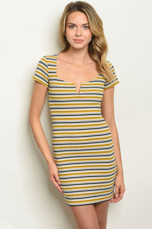 Womens Mustard Black Stripes Dress