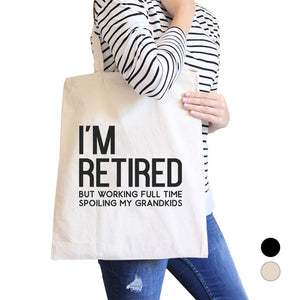 Retired Grandkids Heavy Cotton Canvas Bag Tote Shoulder Hand Bags