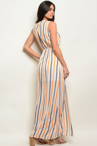 Womens Orange Stripes Dress