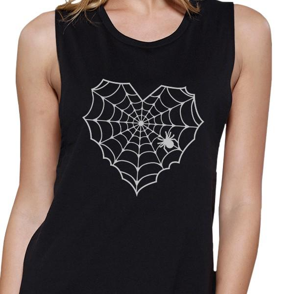 Heart Spider Web Womens Black Muscle Top