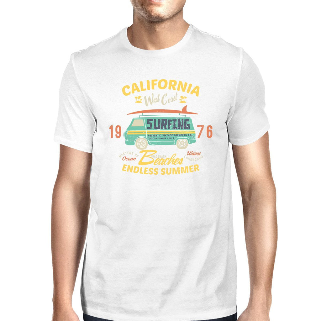 California Beaches Endless Summer Mens White Shirt