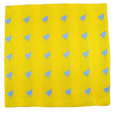 Image of Sailboat Pocket Square - Yellow, Woven Silk