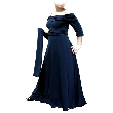 Image of Evanese Women's Plus Size Formal Long Evening Dress 3/4 Sleeves and Side Flare