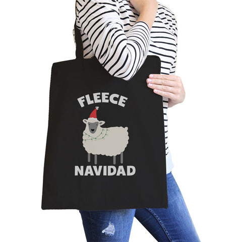 Image of Fleece Navidad Canvas Shoulder Bag Heavy Cotton Foldable Tote X-Mas
