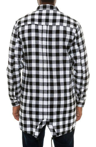 Image of High-Low Fishtail Flannel Button Down in Black/White