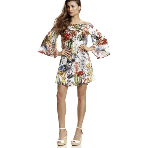 Floral Off Shoulder Beach Dress