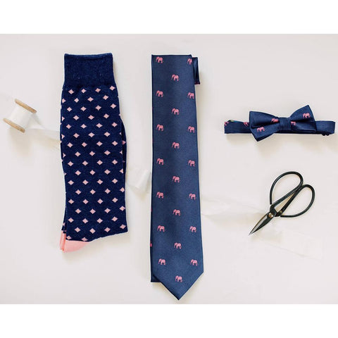 Image of Elephant Necktie - Pink on Navy, Woven Silk
