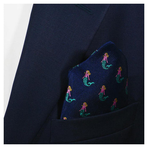 Image of Mermaid Pocket Square - Navy