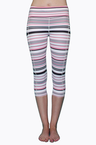 Pink Gray & Black Stripe - Pocket Capri