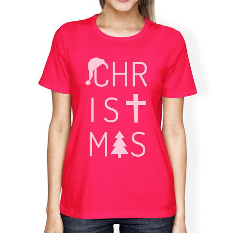 Image of Christmas Letters Womens Hot Pink Shirt