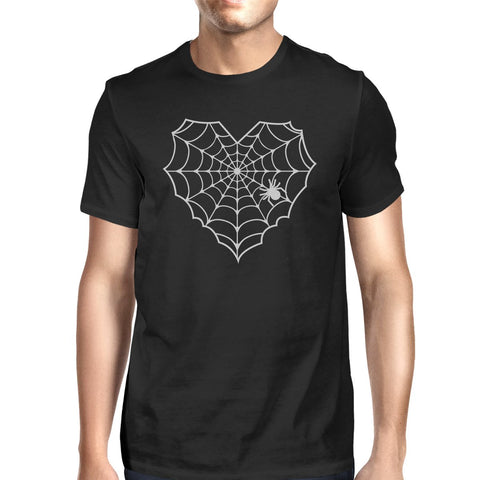 Heart Spider Web Mens Black Shirt