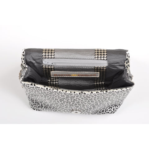 Image of Leopard Silver square clutch