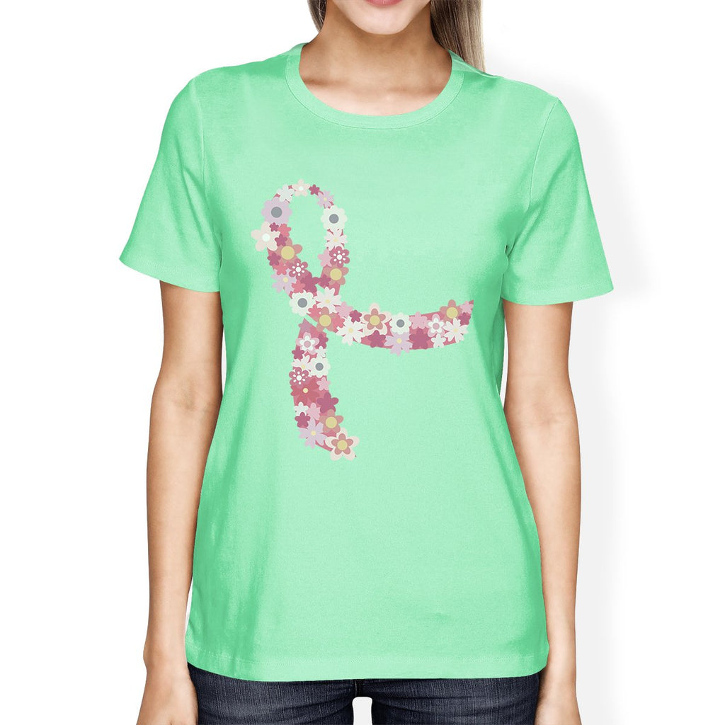 Pink Floral Ribbon Womens Shirt