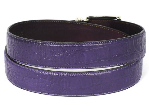 PAUL PARKMAN Men's Crocodile Embossed Calfskin Leather Belt Hand-Painted Purple (ID#B02-PURP)