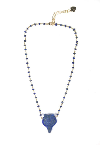 Image of Lapis Lazuli Fox Necklace