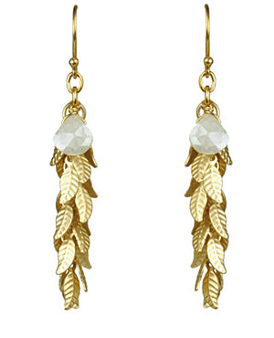 White Silverite And Leaf Cascade Earrings