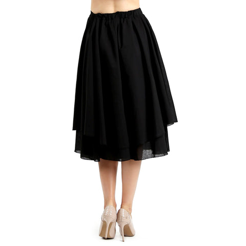 Evanese Women's Cotton Layered Scoop Top Layer Godet Contemporary A Line Skirt