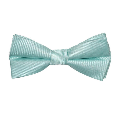Image of Solid Color Bow Tie - Light Green, Woven Silk, Kids Pre-Tied