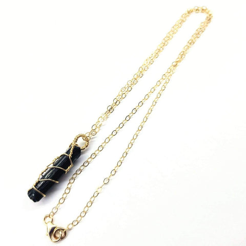 Image of Messy Gold Wire Wrapped Black Tourmaline Pointed Crystal Pendant