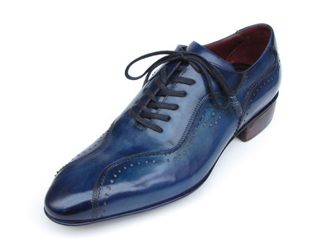 Image of Paul Parkman Handmade Lace-Up Casual Shoes For Men Blue (ID#84654-BLU)