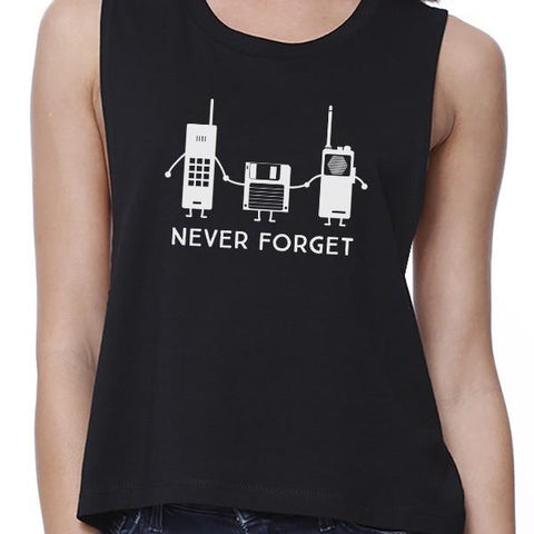 Image of Never Forget Womens Black Crop Top