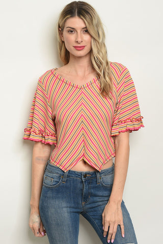 Womens Pink Multi Color Top
