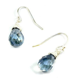 Blue Faceted Crystal Earrings