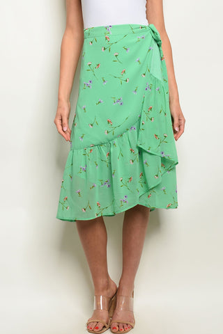 Image of Green Floral Skirt