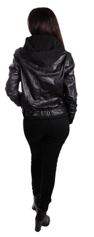 Hooded Bomber Womens Leather Jacket - Discounted!