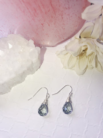 Image of Blue Faceted Crystal Earrings