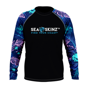 Men's Find Your Coast Floral Sleeve Sea Skinz Performance Rash Guard UPF 40+