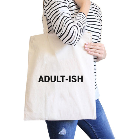 Image of Adult-ish Natural Canvas Bag Trendy Varsity Bag For College Student