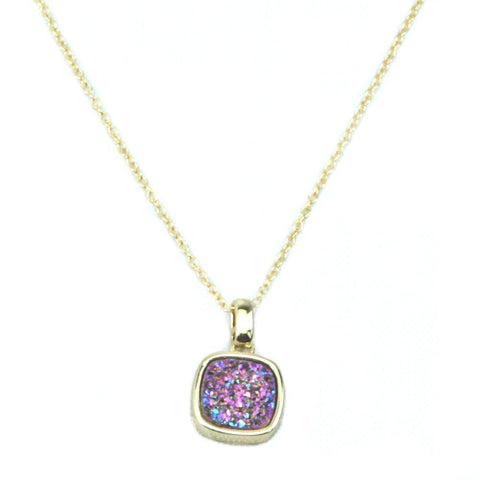 Image of Christy Square Druzy Necklace in Gold