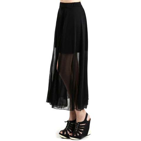 Evanese Women's Double Layered See Through Top Layer with Center Slit Long Skirt