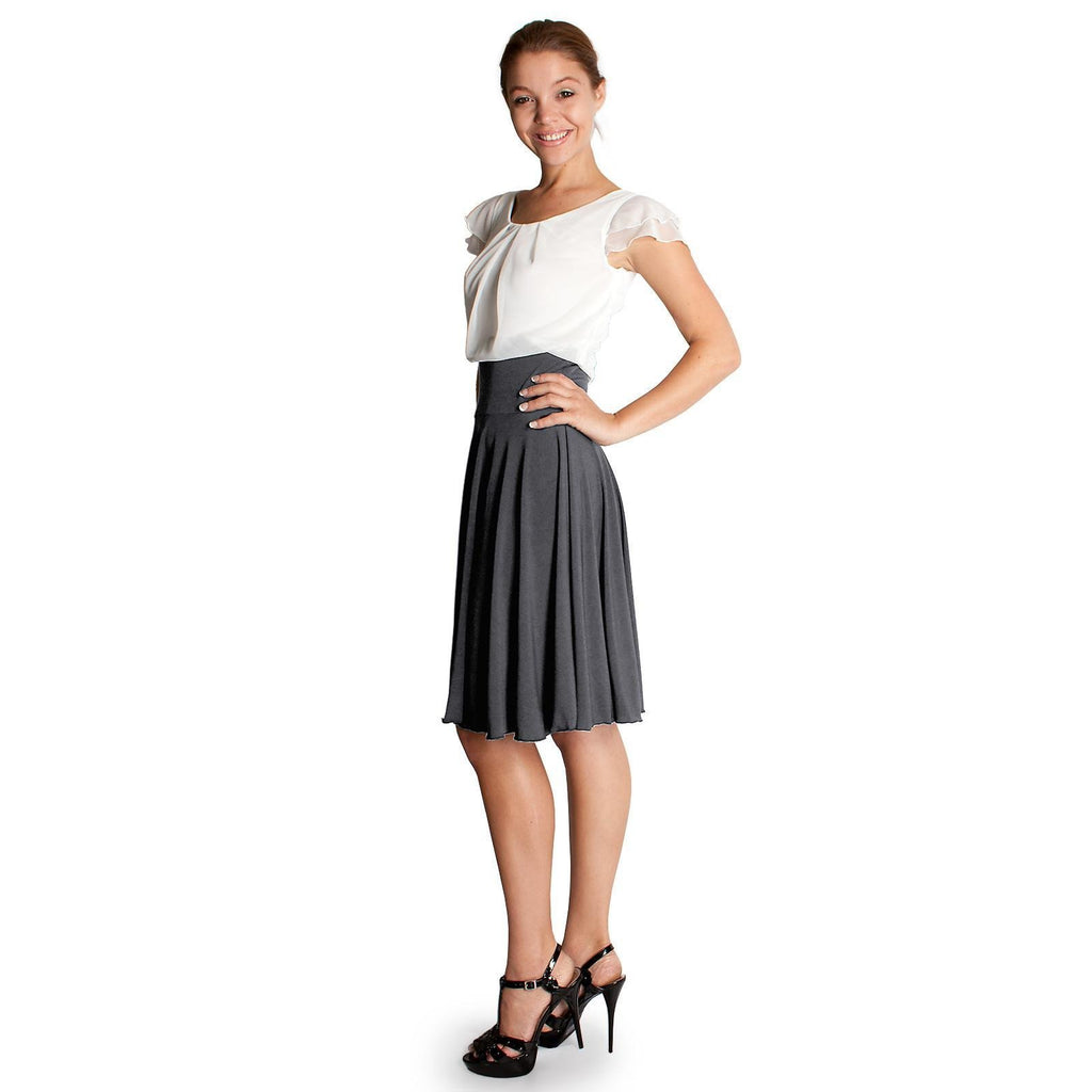Evanese Women's Double Sleeves Pleat Top and A Line Circle Skirt Cocktail Dress
