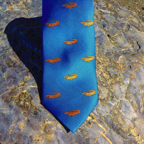 Image of Alligator Necktie - Blue, Woven Silk