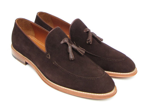 Image of Paul Parkman Men's Tassel Loafer Brown Suede Shoes (ID#087-BRW)