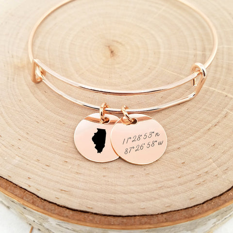 Personalized Rose Gold State Bangle - Coordinates Bracelet